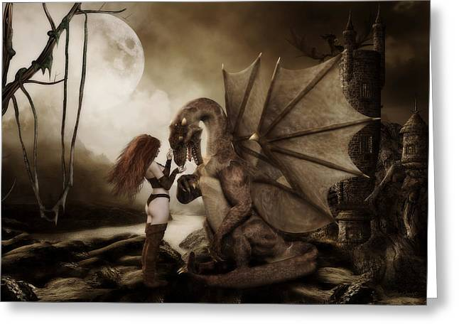 Fantasy Art Greeting Cards - Dragon Whispers  Greeting Card by Shanina Conway
