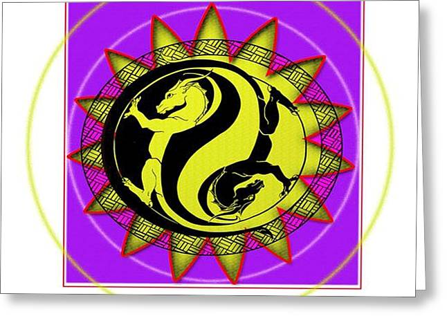 Ying Greeting Cards - Dragon in balance Greeting Card by Chaotic Expressions