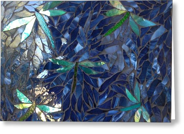 Dragonflies Glass Art Greeting Cards - Dragonflies  Greeting Card by Alison Edwards