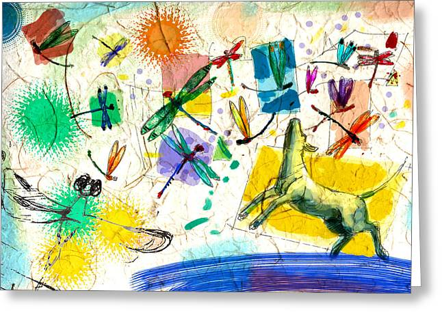 Garden Scene Mixed Media Greeting Cards - Dragonflies and dog Greeting Card by Nato  Gomes