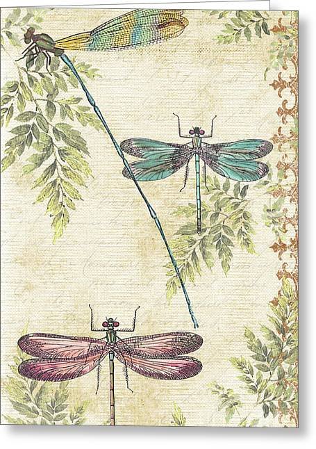 Y Wing Greeting Cards - Dragonflies in the Summertime-JP2325 Greeting Card by Jean Plout