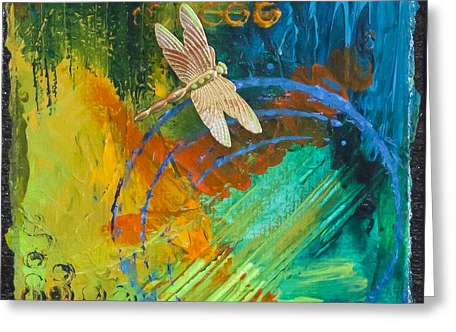 Circle Pastels Greeting Cards - Dragonfly Abstract Greeting Card by Tracy L Teeter