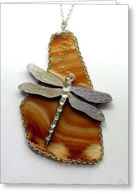 Agate Jewelry Greeting Cards - Dragonfly agate pond Greeting Card by Arlene Delahenty