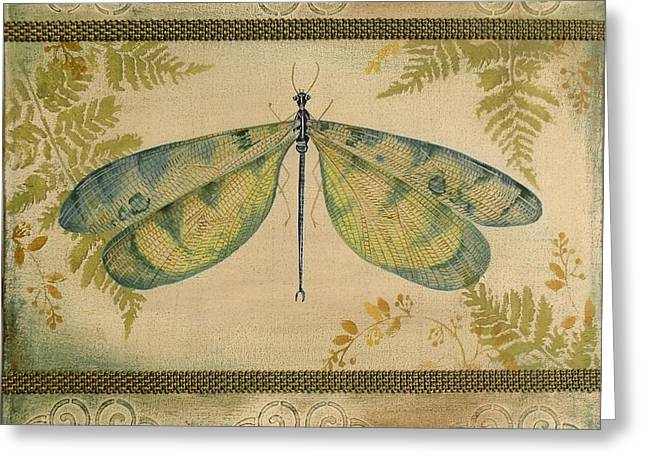 Embossed. Greeting Cards - Dragonfly Among the Ferns-1 Greeting Card by Jean Plout