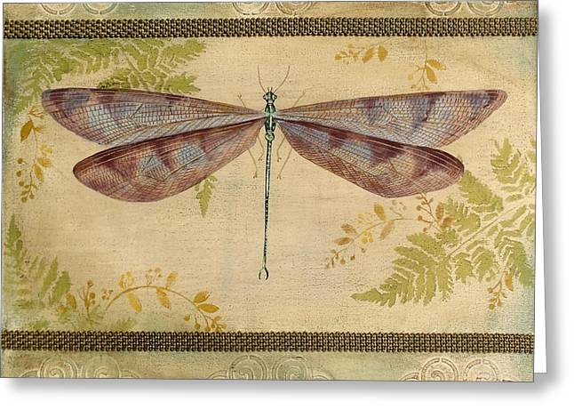 Embossed. Greeting Cards - Dragonfly Among the Ferns-3 Greeting Card by Jean Plout