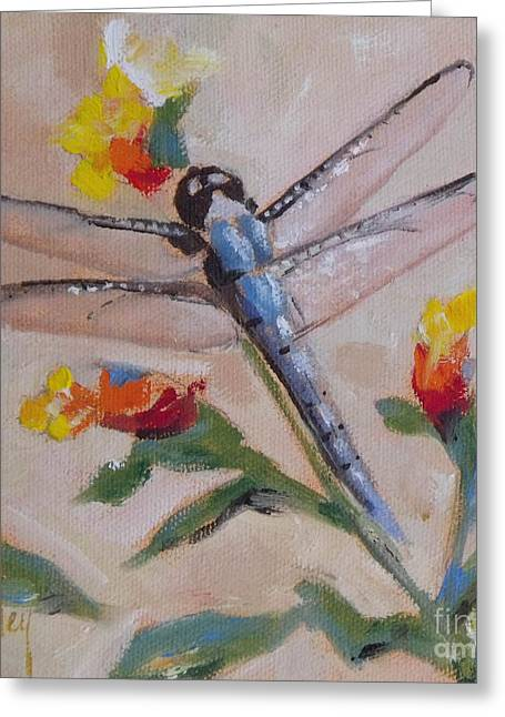 Dragonfly And Flower Greeting Card by Mary Hubley
