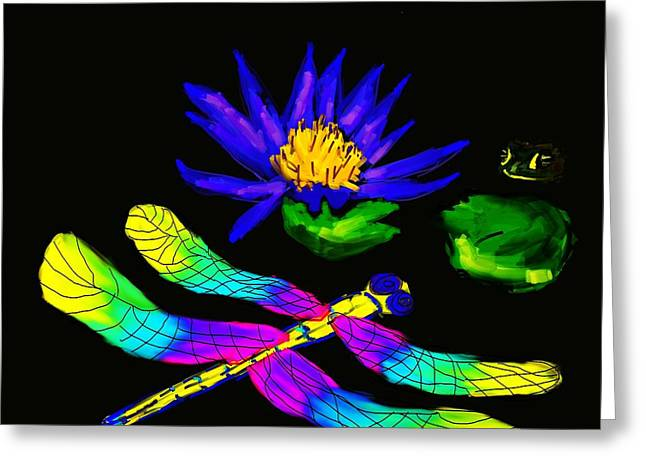 Best Sellers -  - Flying Frog Greeting Cards - Dragonfly And Frog Greeting Card by Randy Kaufman