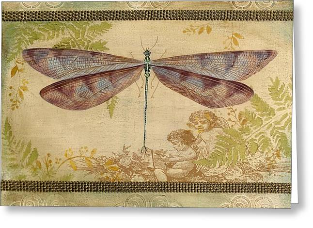 Embossed Greeting Cards - Dragonfly and the Angel-4 Greeting Card by Jean Plout