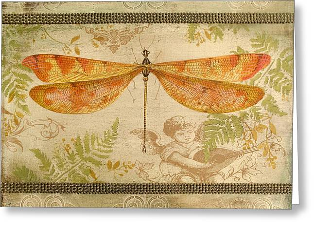 Embossed Greeting Cards - Dragonfly and the Angel-5 Greeting Card by Jean Plout