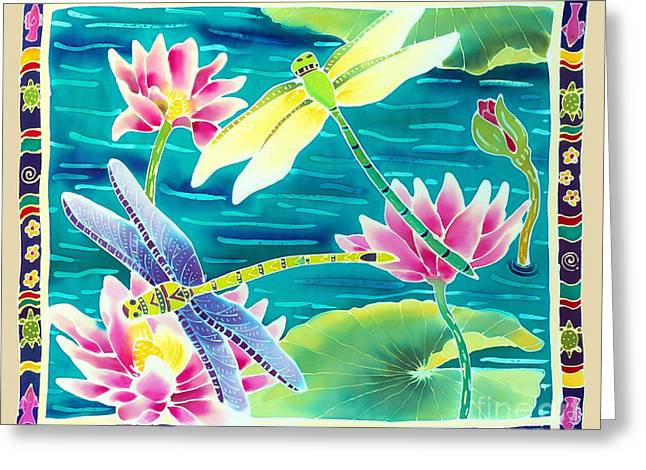 Dragonfly Art Greeting Cards - Dragonfly Dance Greeting Card by Harriet Peck Taylor