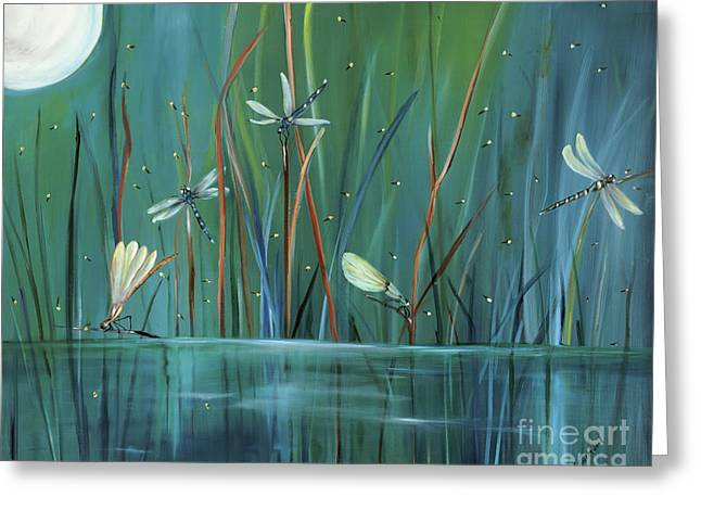 Green Greeting Cards - Dragonfly Diner Greeting Card by Carol Sweetwood