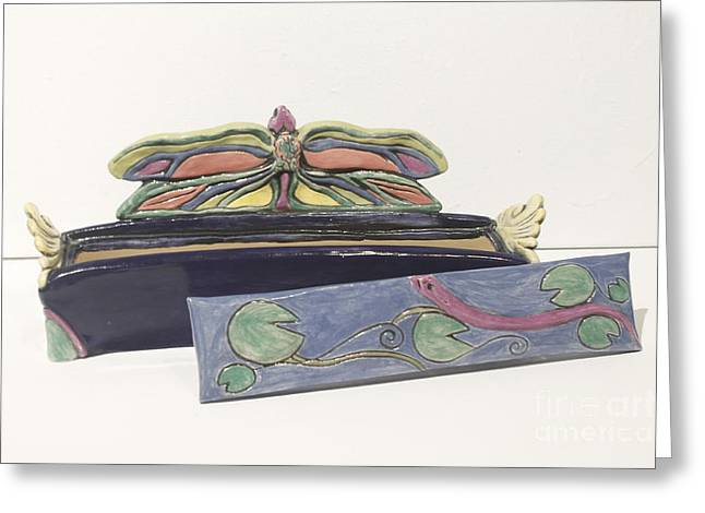Dragonfly Ceramics Greeting Cards - Dragonfly Divan Box Greeting Card by Lee Bell
