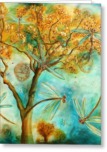 Lyndsey Hatchwell Greeting Cards - Dragonfly Flirtation Greeting Card by Lyndsey Hatchwell
