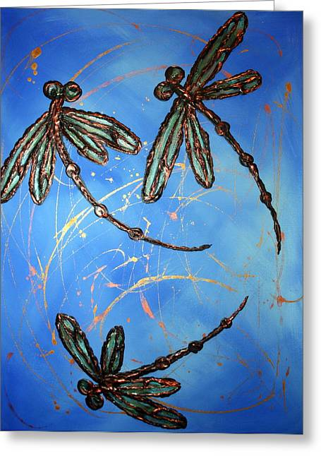 Lyndsey Hatchwell Greeting Cards - Dragonfly Flit - Blues Greeting Card by Lyndsey Hatchwell