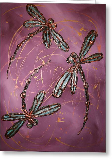 Lyndsey Hatchwell Greeting Cards - Dragonfly Flit - Dusky Pink Greeting Card by Lyndsey Hatchwell
