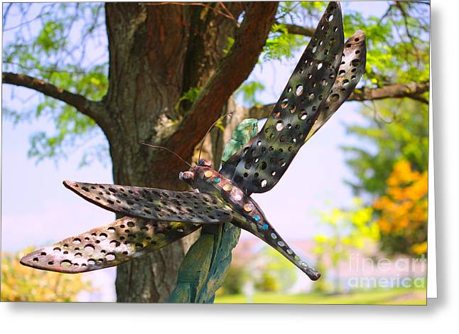 Dragonfly Picture Greeting Cards - Dragonfly Garden Ornament Greeting Card by Corey Ford
