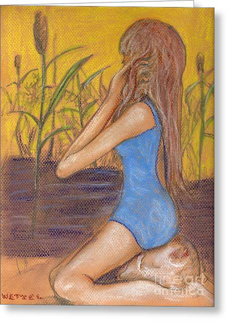 Swimmers Pastels Greeting Cards - Dragonfly Girl Greeting Card by Joseph Wetzel