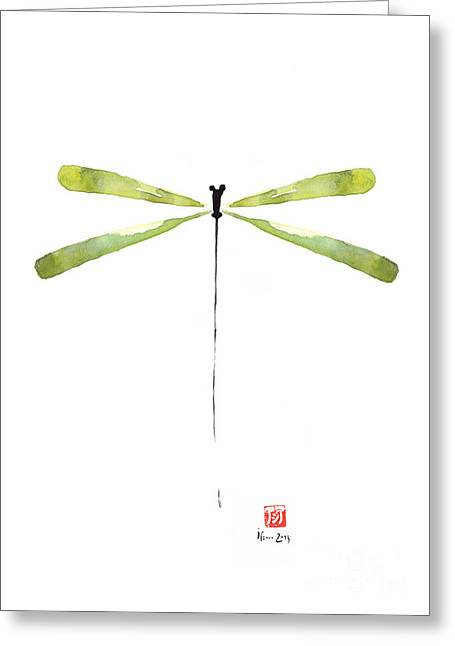 Jewelries Acrylic Prints Greeting Cards - DRAGONFLY Green Jewel Forest Jewelry Lake Water watercolor painting    Greeting Card by Johana Szmerdt