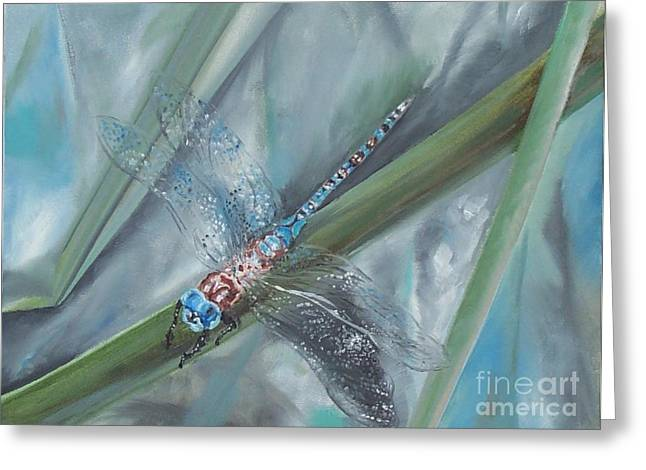 Dragonfly Greeting Card by Irene Pomirchy