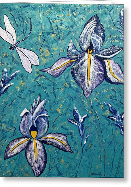Susan Mclean Gray Greeting Cards - Dragonfly Irises Greeting Card by Susan McLean Gray
