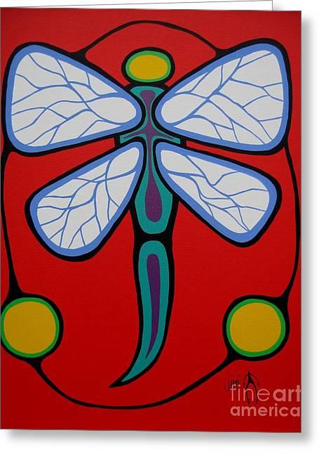 Shaman Art Greeting Cards - Dragonfly Greeting Card by Jim Oskineegish