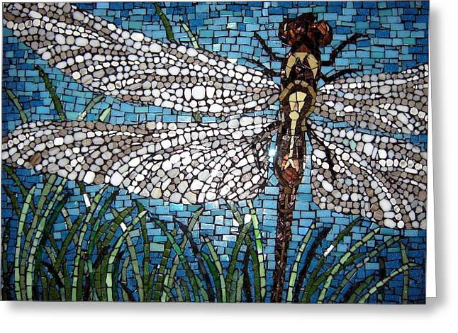 Dragonflies Glass Art Greeting Cards - Dragonfly Greeting Card by Monique Sarfity