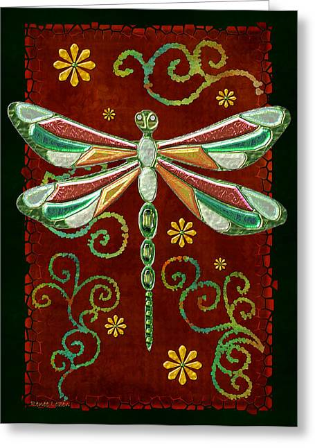 Mystic Art Greeting Cards - Dragonfly Mystic Jeweled Folk Art 2 Greeting Card by Sharon and Renee Lozen