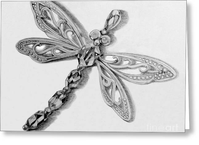 Pendants Drawings Greeting Cards - Dragonfly pendant in graphite Greeting Card by Jacqueline Barden