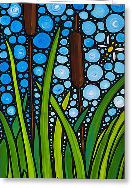 Lilly Pad Greeting Cards - Dragonfly Pond by Sharon Cummings Greeting Card by Sharon Cummings