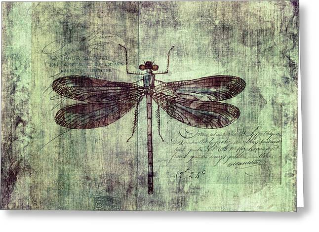 Digital Collage Greeting Cards - Dragonfly Greeting Card by Priska Wettstein