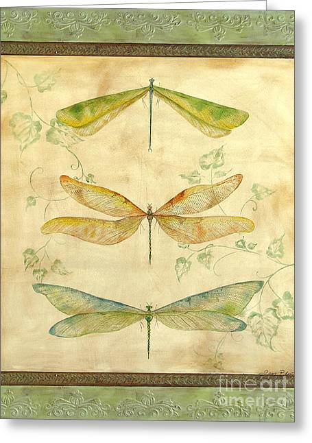 Embossed. Greeting Cards - Dragonfly Trio Greeting Card by Jean Plout