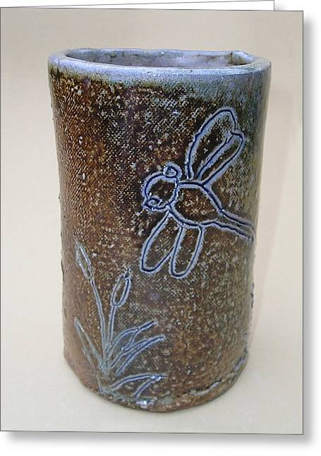 Plant Ceramics Greeting Cards - Dragonfly Vase Greeting Card by Jeanette K