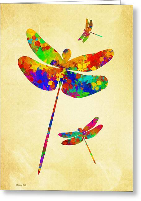 Dragon Flies Greeting Cards - Dragonfly Watercolor Art Greeting Card by Christina Rollo