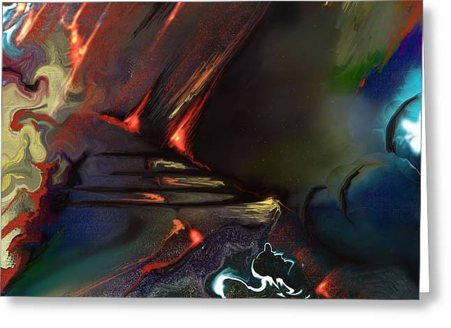Abstract Digital Paintings Greeting Cards - Dragonland Greeting Card by Francoise Dugourd-Caput