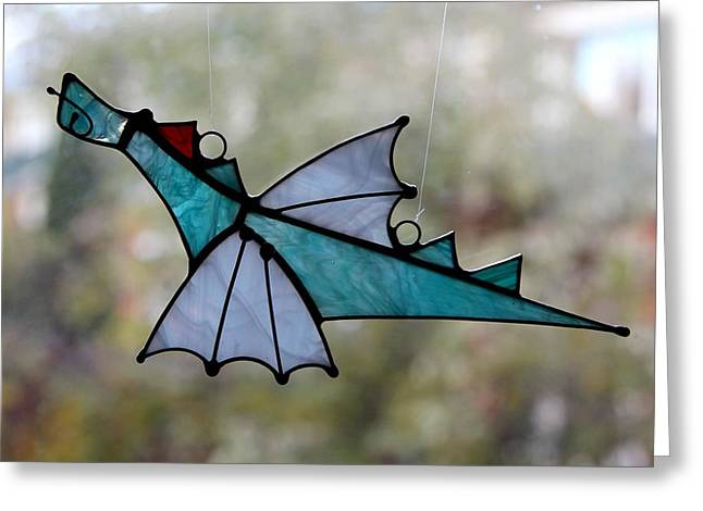 Dragons Glass Greeting Cards - Dragonny Greeting Card by Alena Kogan