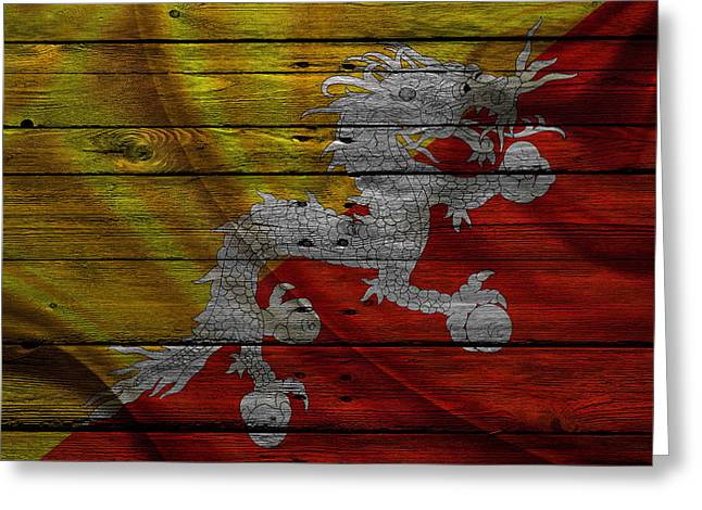 Flag Pole Greeting Cards - Dragons Bhutan Greeting Card by Joe Hamilton