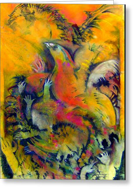 Flying Bird Pastels Greeting Cards - Dragons Of Our Better Self Greeting Card by Josie Taglienti