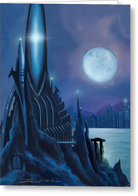 Power Plants Paintings Greeting Cards - DragonTown Greeting Card by James Christopher Hill