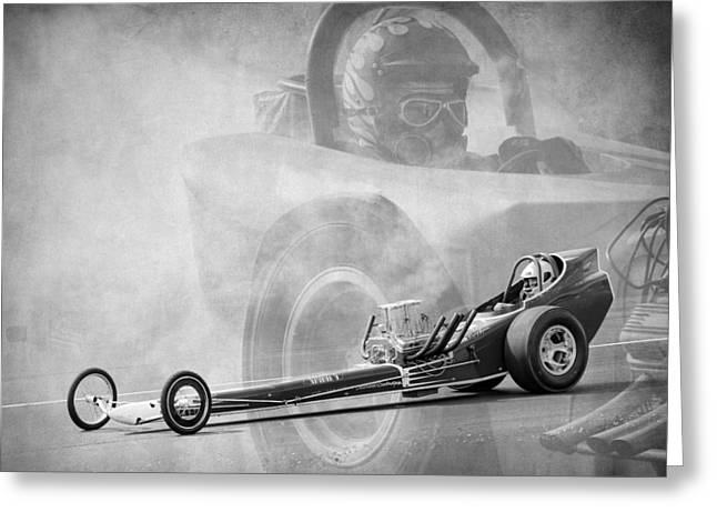 1960 Greeting Cards - Dragster Greeting Card by Steve McKinzie