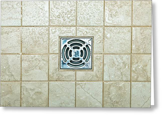 Domestic Bathroom Greeting Cards - Drain hole Greeting Card by Tom Gowanlock