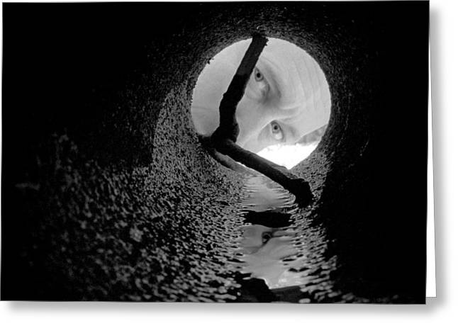 Looking In Greeting Cards - Drain Pipe - Artist Self Portrait Greeting Card by Gary Heller