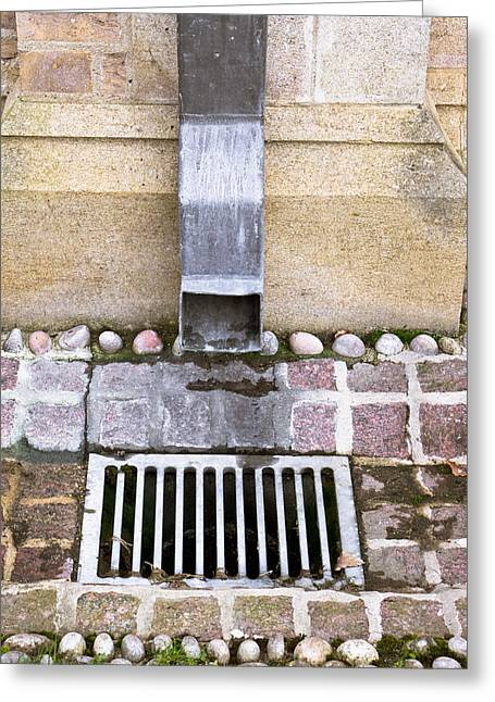Gutter Greeting Cards - Drain Greeting Card by Tom Gowanlock