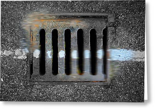 Grate Paintings Greeting Cards - Drain With Blue Line Greeting Card by Charles Stuart