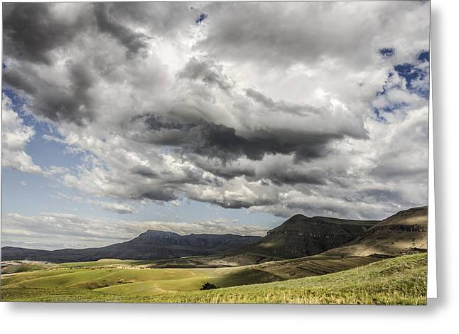 Grey Clouds Pyrography Greeting Cards - Drakensberg Clouds Greeting Card by Jennifer Russell