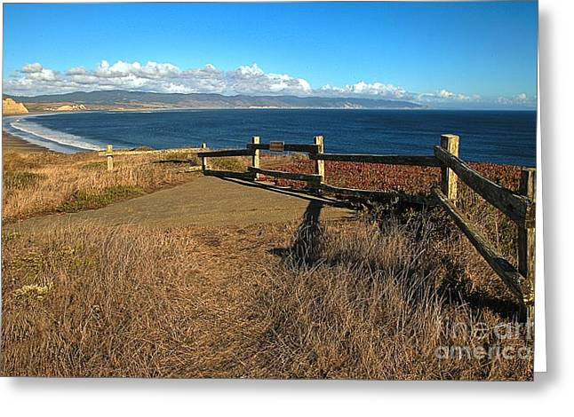 Old Wooden Fence Greeting Cards - Drakes Beach Overlook Greeting Card by Adam Jewell