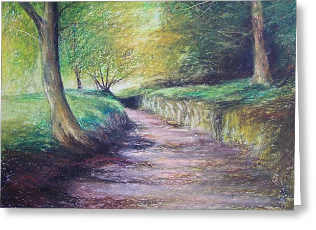 Leading Pastels Greeting Cards - Drakes Leat Dartmoor Greeting Card by Sue Wills