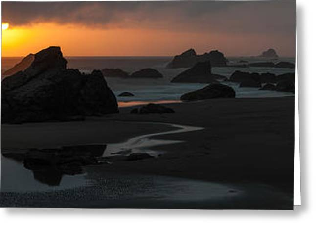 Best Sellers -  - State Parks In Oregon Greeting Cards - Dramatic beach sunset panorama Pacific coast Oregon Greeting Card by William Fawcett