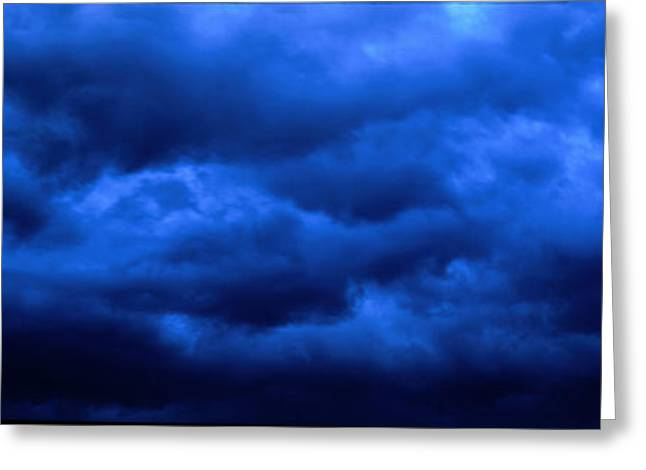 Overcast Day Greeting Cards - Dramatic Blue Clouds Greeting Card by Panoramic Images