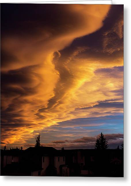 Dramatic Colourful Clouds At Sunset Greeting Card by Michael Interisano