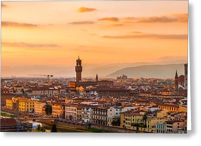 Italian Sunset Greeting Cards - Dramatic Florence Greeting Card by Gurgen Bakhshetsyan